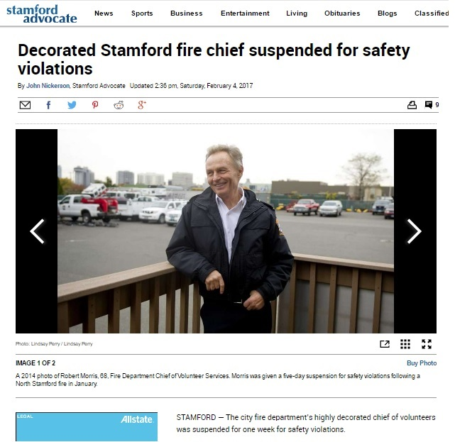 CT Stamford fire chief suspended