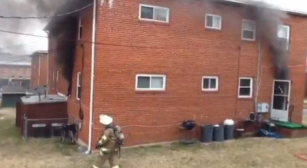 Photo of Early video: Initial attack by PGFD at Laurel, MD duplex fire.