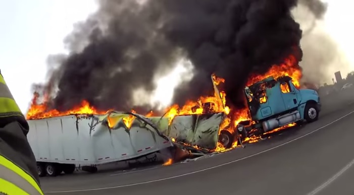 Multiple videos: Stockton, CA tractor-trailer crash & fire