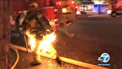 Photo of Caught on camera: LAFD firefighter catches fire